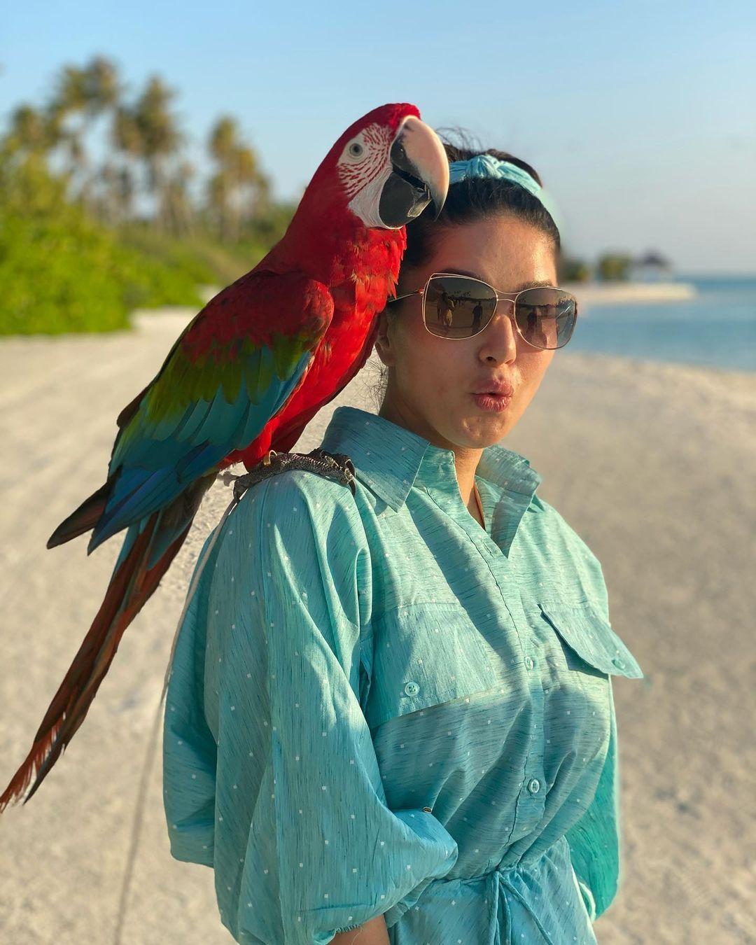 சிவப்பு கிளியுடன் கொஞ்சி விளையாடும் நடிகை சன்னி லியோன்!3